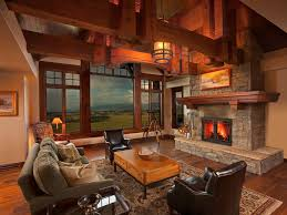 impressive country style living room with fireplace and with