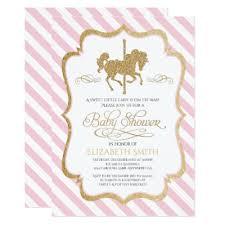 carousel baby shower glitter carousel birthday party invitation zazzle