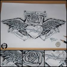 custom heart with wings and rose tattoo design by blaze www