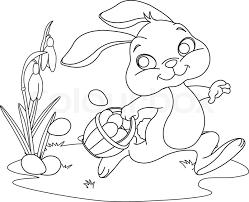cute easter bunny hiding eggs coloring stock vector