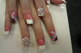 9 french tip nail designs with rhinestones pics photos french tip
