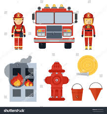 set firefighter equipment clothing tools accessories stock vector