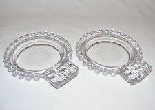 Hughes Cornflower Crystal Cordials Vintage Hughes Cornflower Crystal Candlewick Oval Handled Pickle