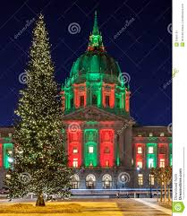 christmas tree at san francisco city hall stock images image