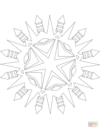 snowflake with firework rocket pattern coloring page free