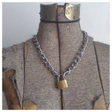 silver rock necklace images Silver punk rock lock chain necklace urban mermaid online jpg