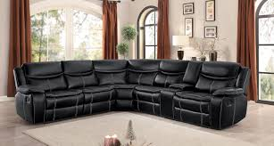 homelegance bastrop reclining sectional set black leather gel