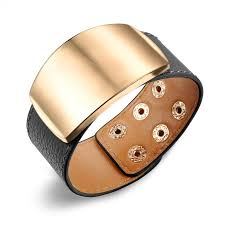 leather women bracelet images 3cm wide chunky women leather cuff bracelet gold alloy belt bangle jpg
