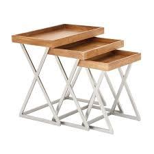 Folding Tray Table Set Cole U0026 Grey 3 Piece Metal And Wood Tray Table Set U0026 Reviews Wayfair
