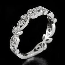 diamond art deco bezel wedding band floral 1920 u0027s round
