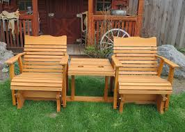 Cedar Patio Table Stained Settee Glider 1 Jpg