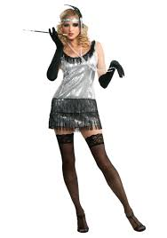 Flapper Gangster Couple Halloween Costumes Black Silver Sequin Flapper Costume