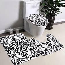 2017 wholesale bathroom non slip contour rug set black white mix