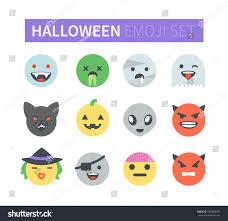 set flat halloween emoticons emoji icons stock illustration
