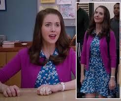 wornontv annie u0027s blue daisy print dress and magenta cardigan on