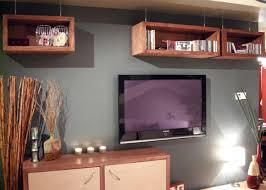 Wall Mounted Entertainment Shelves Furniture Nature Wood Rectangle Floating Entertainment Shelves