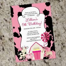 girly farm themed birthday party invitation printable design