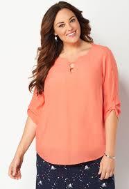 plus size blouse s solid split neck plus size blouse from christopher
