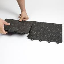 interlocking rubber floor tiles black w confetti flecks made