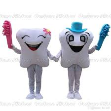 2016 smiling tooth dentist mascot costume fancy party dress