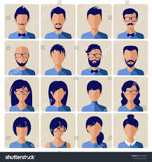 different hairstyles for men and women set flat icon avatar young people stock vector 359036336