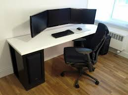 3 monitor chair dark brown computer desk with 3 monitor computer desk and black