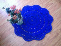 Royal Blue Bathroom Rugs Round Crochet Doily Rug Crochet Carpet Crochet Rug By Stefkowo