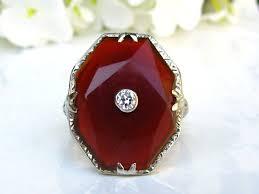 unique antique carnelian engagement ring european cut diamond art