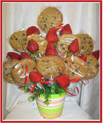 cookie gram a1 chocolate chip cookies strawberry arrangement ea47
