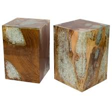 Wood Block Side Table Organic Teak Wood And Cracked Resin Cube Tables For Sale At 1stdibs