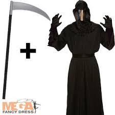 grim reaper costume mirrored grim reaper robe scythe mens fancy dress