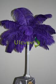 Ostrich Feather Centerpieces Purple Ostrich Plume Feather Centerpieces For Wedding