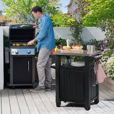 outdoor grill prep table keter unity 40 gal bbq entertainment patio storage grilling cart