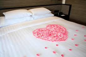 white honeymoon petals of roses on a white honeymoon bed stock photo image of