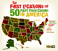 Map Of 50 Us States by Infographic The First Locations Of 50 American Fast Food Chains