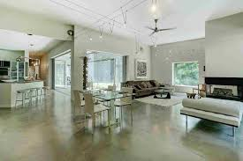Dining Room With Ceiling Fan by Contemporary Great Room With Ceiling Fan U0026 Concrete Floors In Cold