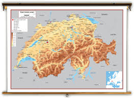 Physical Map Europe by Switzerland Physical Educational Wall Map From Academia Maps