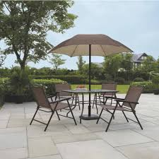 Patio Table Parasol by Patio Dining Set W Umbrella Outdoor Seating Folding Rust Scratch