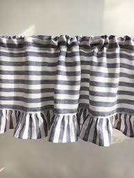 Striped Linen Curtains Linen Valance With Ruffles Striped Linen Curtain Window Panel