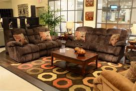 Power Reclining Sofa Set Concord Lay Flat Recliner In Mahogany Color Fabric By