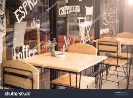 selective focus table coffee shop outside stock photo 483160153