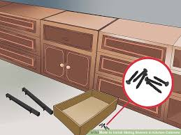 How To Install Sliding Shelves In Kitchen Cabinets With Pictures - Sliding kitchen cabinet shelves