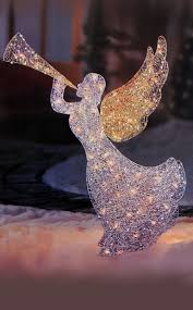 lighted christmas yard angels lighted glitter sequin 3 d angel w trumpet christmas yard art decor