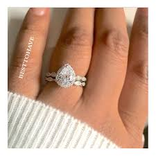 engagement and wedding ring set pear cut cubic zirconia ring bridal set