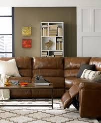 Motion Leather Sofa Brandie Leather 5 Sectional Sofa With 3 Power Recliners