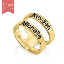 name ring gold 24k gold plated layered name ring rsnamenecklace