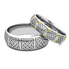 cheap matching wedding bands his hers matching wedding bands platinum celtic yellow sapphire ring