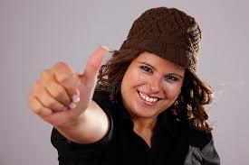 imagenes para perfil de jovenes mujeres bonitas jovenes con el pulgar para arriba imagen de archivo