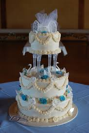 o taste u0026 see cakes blue flowers u0026 white swan wedding cake