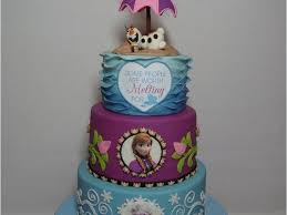 frozen cake with anna elsa and olaf in summer cakecentral com